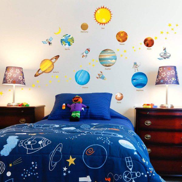 vinilos de planetas y cohetes