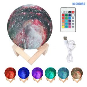 Aesy Luz de Luna 3D con Soporte Táctil de Madera (7 Colores)