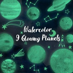 Konsait Brillante Estrellas y Planetas Pegatina de Pared para Dormitorio de Niños, Luna Estrellas Adhesivos Decorativo de Pared Luminoso Fluorescentes